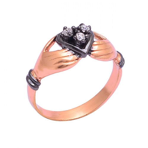 925 Sterling Silver Round Shape Cz Gemstone Rose Gold Plated Ring Jewelry