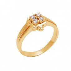 925 Sterling Silver Round Shape Cz Gemstone Gold Plated Designer Ring