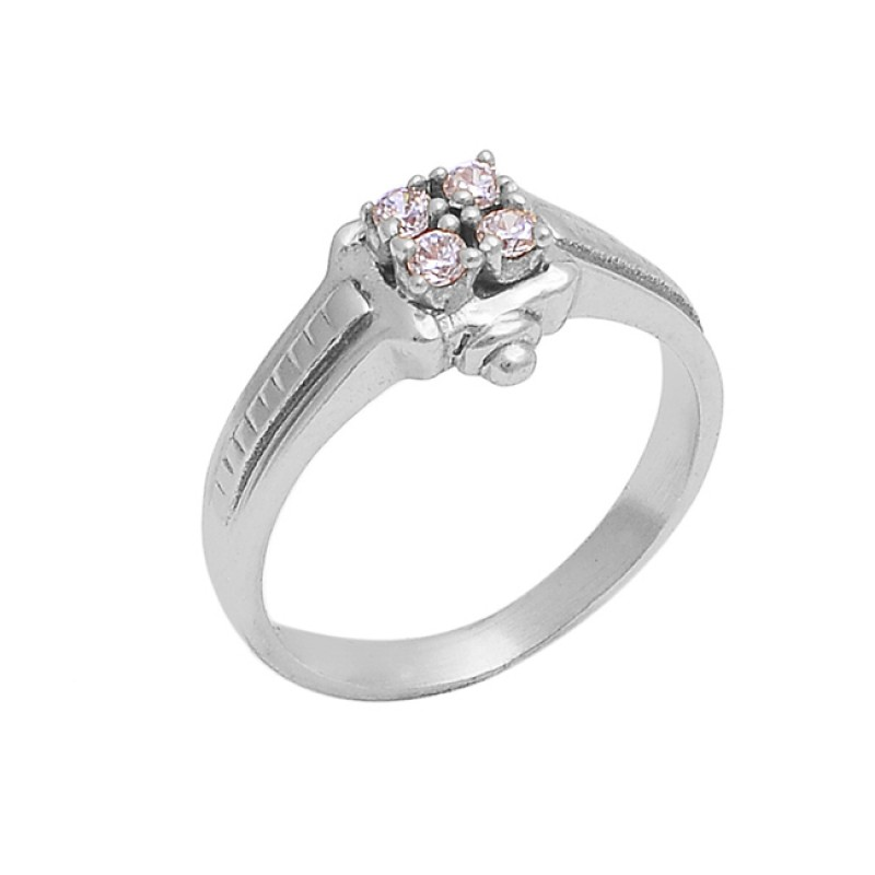 925 Sterling Silver Round Shape Cz Gemstone Gold Plated Designer Ring