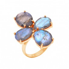 Oval Shape Labradorite Gemstone 925 Sterling Silver Rose Gold Plated Ring