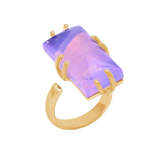 Cabochon Rectangle Shape Moonstone 925 Silver Gold Plated Ring Jewelry