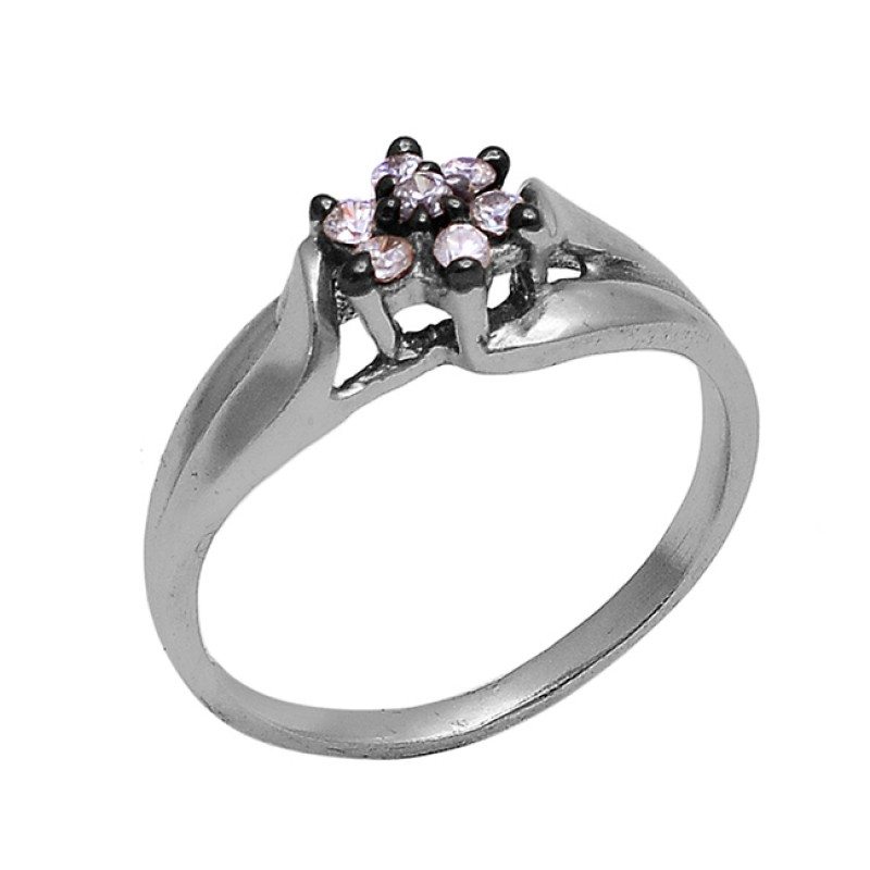 925 Sterling Silver Round Shape Cz Gemstone Gold Plated Prong Designer Ring
