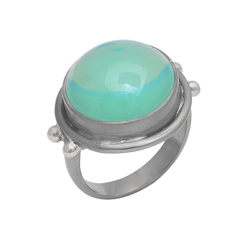 Round Cabochon Moonstone 925 Sterling Silver Black Rhodium Ring Jewelry