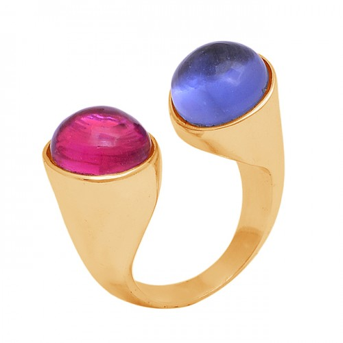 Round Shape Pink Blue Color Quartz Gemstone Gold Plated Ring Jewelry