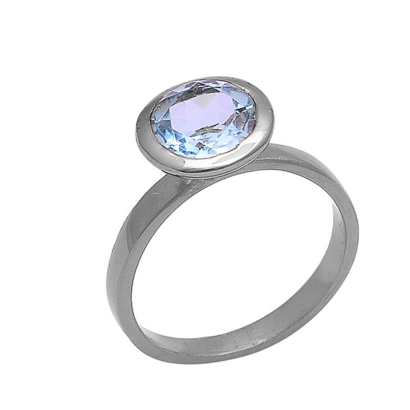 Faceted Round Shape Blue Topaz Gemstone 925 Silver Black Rhodium Ring