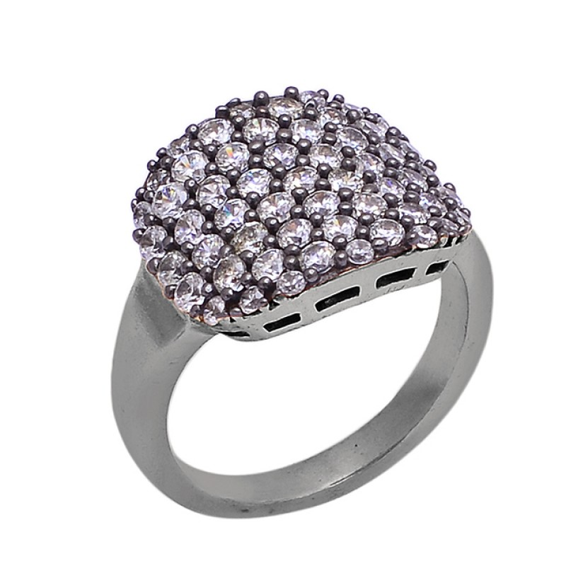 Round Shape Cubic Zirconia Gemstone 925 Silver Gold Plated Cocktail Ring