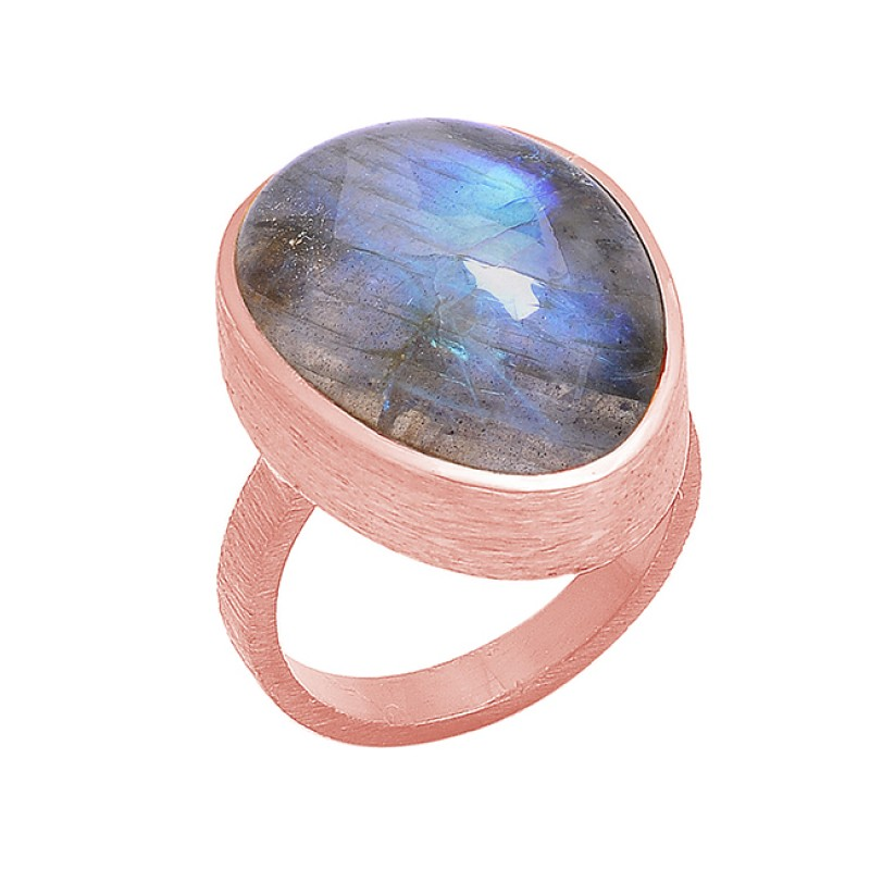 925 Sterling Silver Oval Shape Labradorite Gemstone Black Rhodium Ring