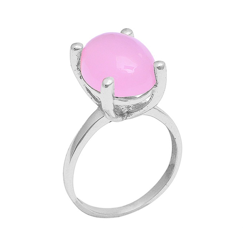 Oval Shape Rose Chalcedony Gemstone 925 Silver Rose Gold Plated Ring