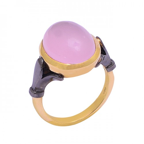 Oval Shape Rose Chalcedony Gemstone 925 Silver Gold Plated Ring Jewelry
