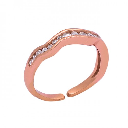 Faceted Round Shape Cz Gemstone 925 Sterling Silver Rose Gold Plated Ring