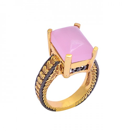 Rectangle Cabochon Rose Chalcedony Gemstone 925 Silver Gold Plated Ring