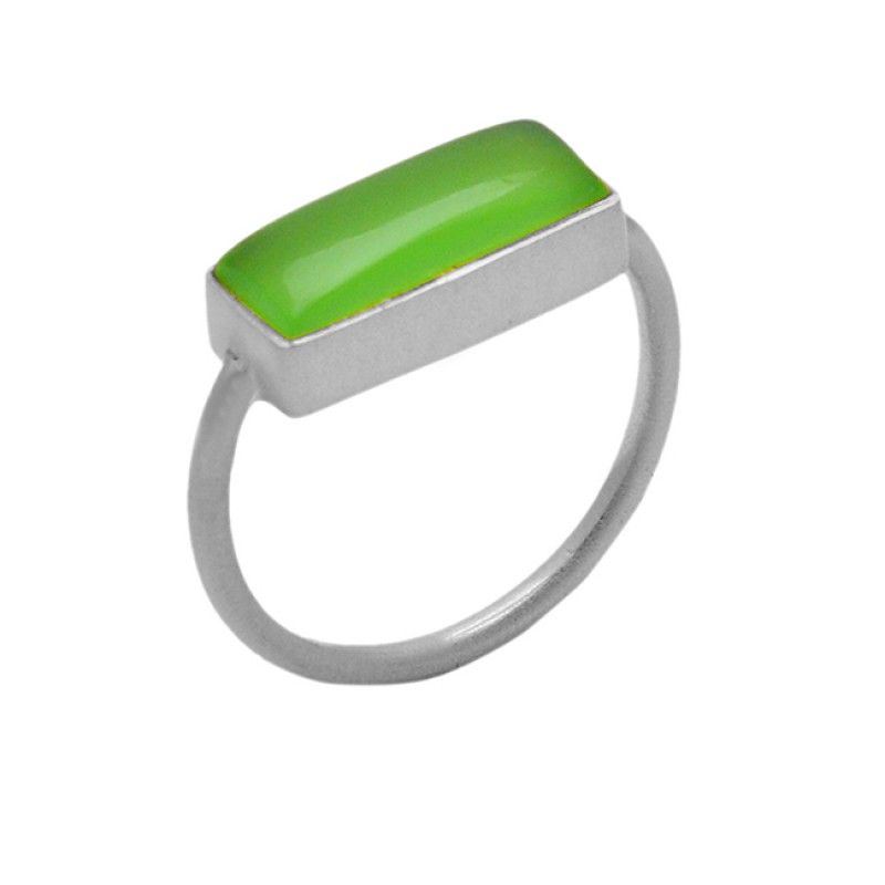Rectangle Cabochon Prehnite Chalcedony Gemstone 925 Sterling Silver Gold Plated Jewelry Ring