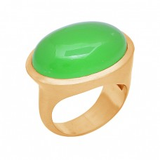 Oval Cabochon Prehnite Chalcedony Gemstone 925 Silver Gold Plated Ring