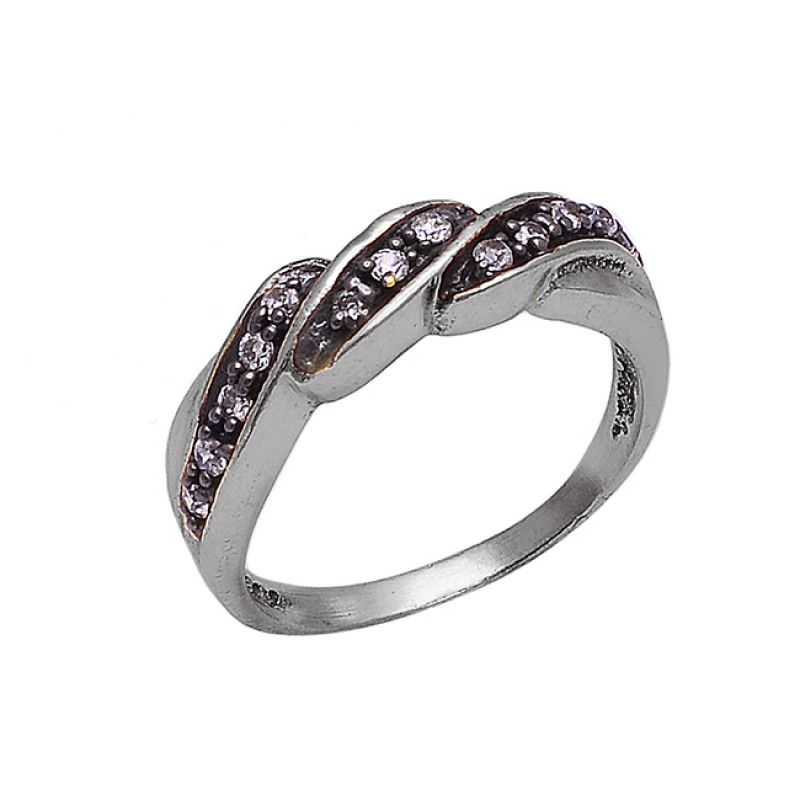 925 Sterling Silver Faceted Round Shape Cz Gemstone Gold Plated Ring