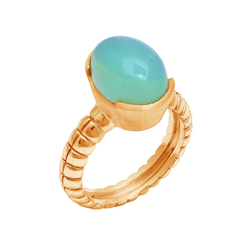 925 Sterling Silver Oval Shape Moonstone Rose Gold Plated Designer Ring