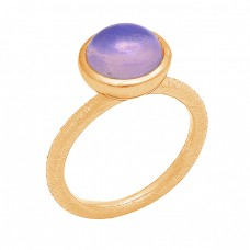 Round Shape Moonstone 925 Sterling Silver Gold Plated Ring Jewelry