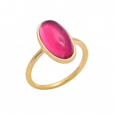 Cabochon Oval Shape Pink Quartz Gemstone 925 Silver Gold Plated Ring
