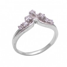 Round Shape Cubic Zirconia Gemstone 925 Sterling Silver Ring Jewelry