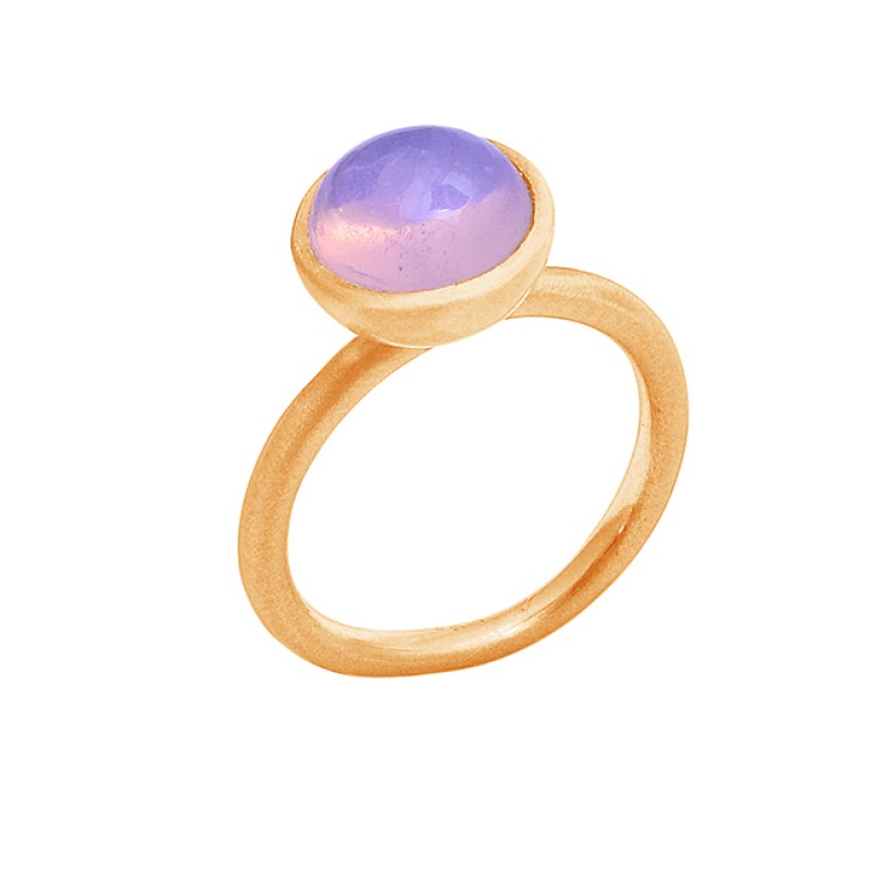 Cabochon Round Shape Moonstone 925 Silver Rose Gold Plated Ring Jewelry