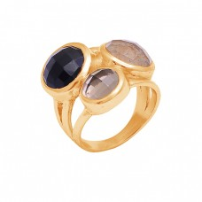 925 Sterling Silver Round Shape Gemstone Gold Plated Designer Ring Jewelry