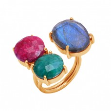 Labradorite Ruby Emerald Gemstone 925 Silver Gold Plated Prong Setting Ring