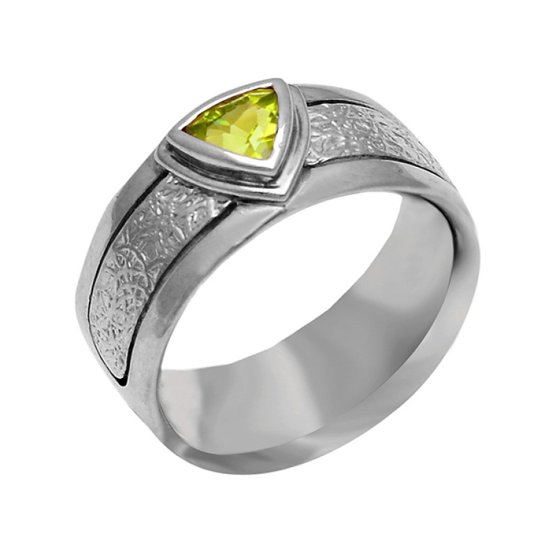 Peridot Triangle Shape Gemstone 925 Sterling Silver Gold Plated Ring Jewelry