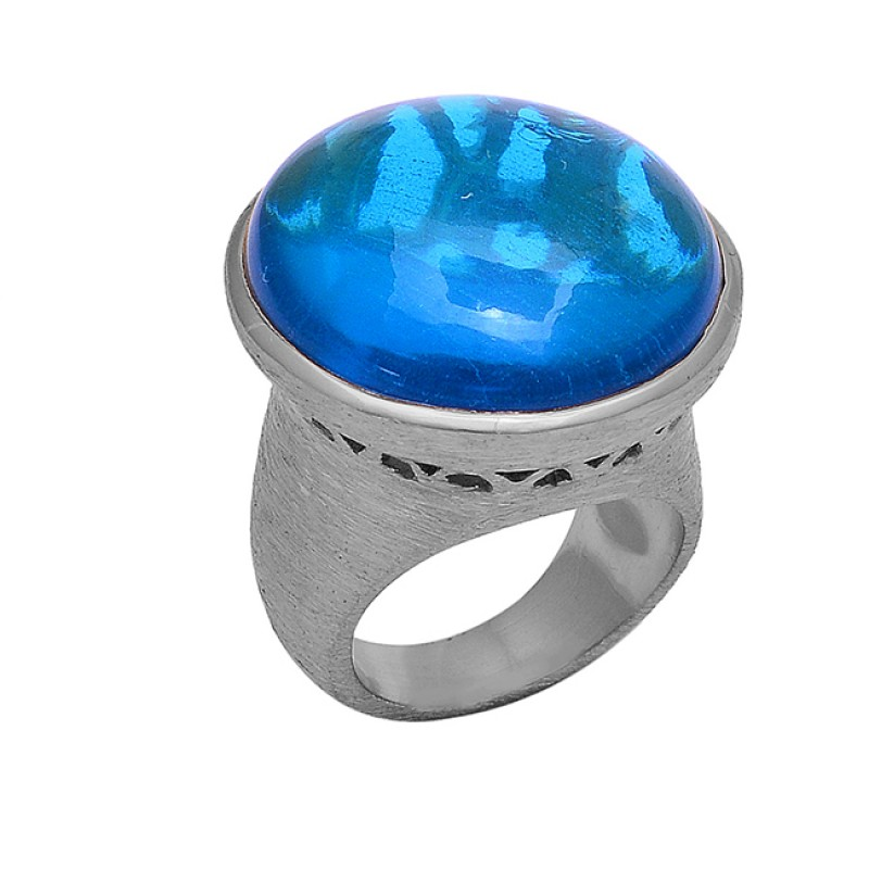 Round Shape Tanzanite Gemstone 925 Sterling Silver Gold Plated Ring Jewelry