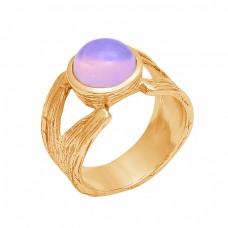 Round Shape Moonstone 925 Sterling Silver Gold Plated Designer Ring Jewelry