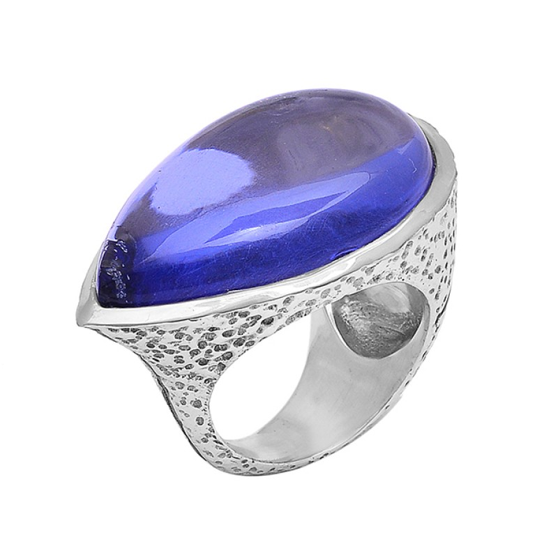 Pear Shape Blue Quartz Gemstone 925 Sterling Silver Gold Plated Ring Jewelry