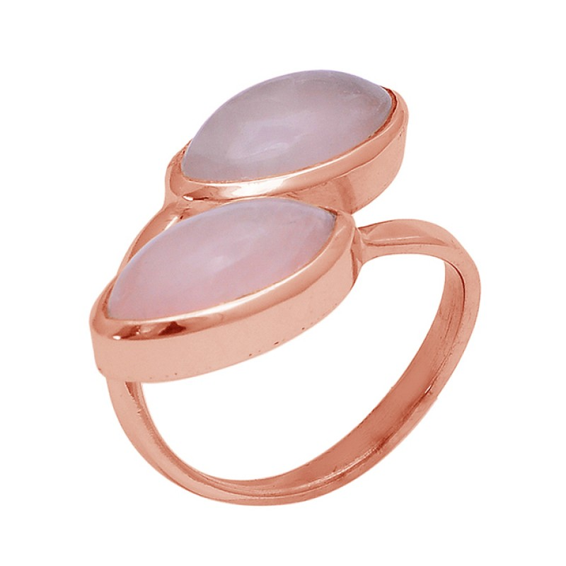 Rose Chalcedony Oval Shape Gemstone 925 Sterling Silver Gold Plated Ring Jewelry