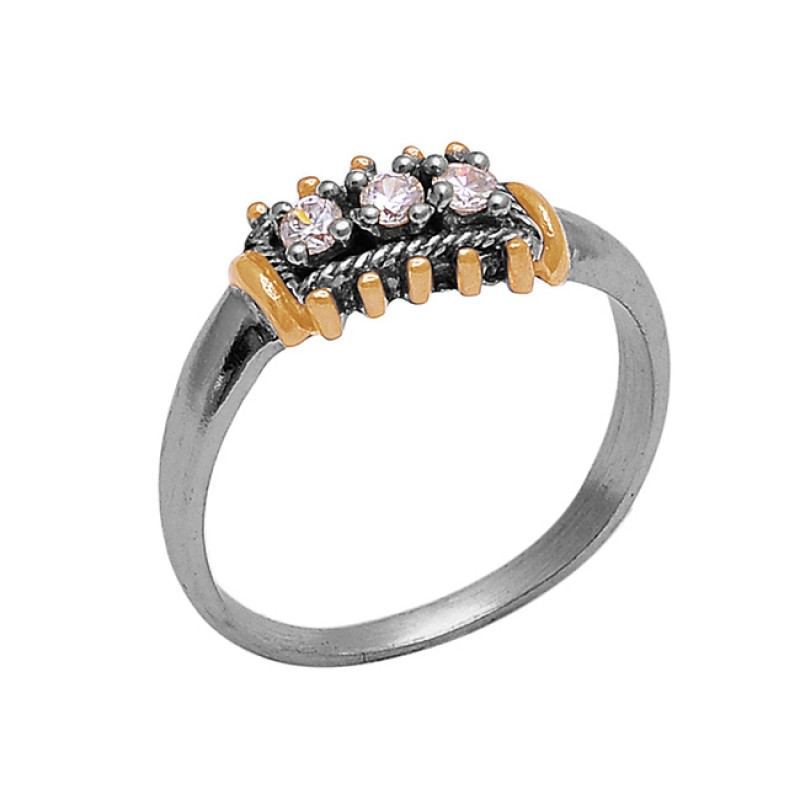 925 Sterling Silver Round Shape Cubic Zirconia Gemstone Prong Setting Ring Jewelry