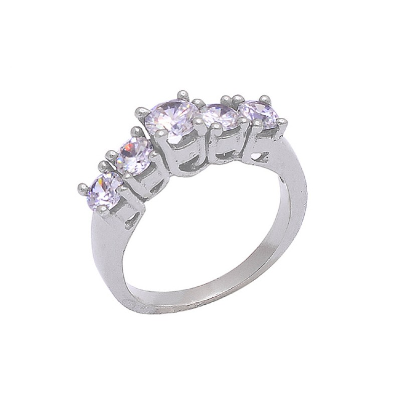 Faceted Round Shape Cubic Zirconia Gemstone 925 Silver Ring Jewelry