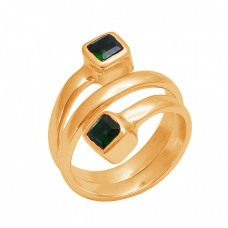 Square Shape Apatite Gemstone 925 Sterling Silver Gold Plated Ring Jewelry