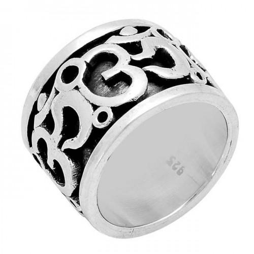 "925 Sterling Silver ""OM"" Handmade Designer Ring Jewelry"