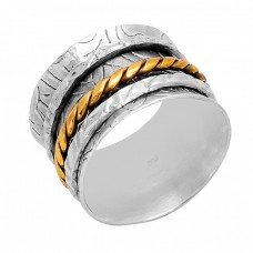 925 Sterling Silver plain Handmade Designer Gold Plated Spinner Ring Jewelry