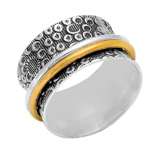 Latest Plain Handmade Designer 925 Sterling Silver Gold Plated Spinner Ring