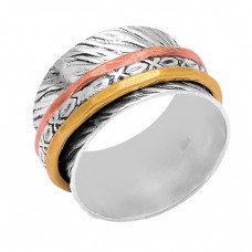 New Stylish Plain Handmade Designer 925 Sterlig Silver Gold Plated Ring