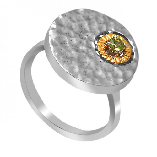 Hammered Designer Peridot Round Shape Gemstone 925 Sterling Silver Ring  Jewelry