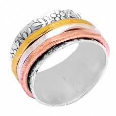 New Handmade Designer Plain 925 Sterling Silver Gold Plated Spinner Ring