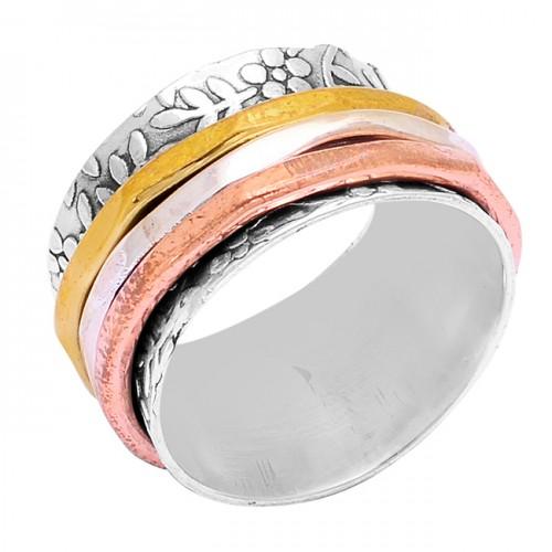 New Handmade Designer Plain 925 Sterling Silver Gold Plated Spinner Ring