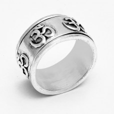 """OM"" Handcrafted Plain Designer 925 Sterling Silver Ring Jewelry"
