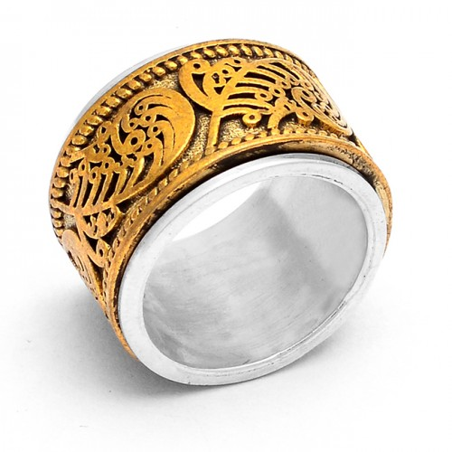 925 Sterling Silver Plain Handcrafted Gold Plated Ring Jewelry