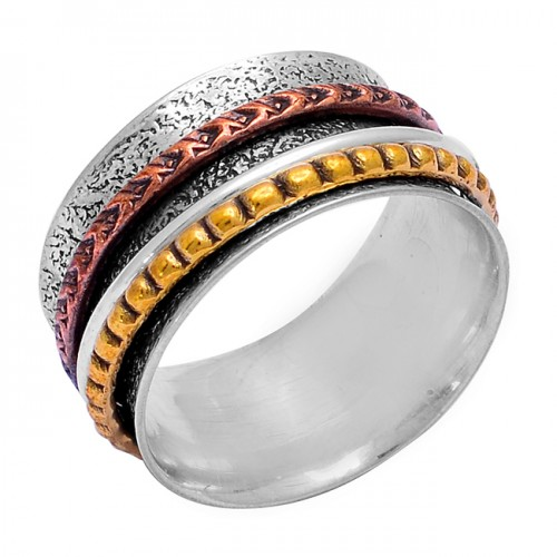 925 Sterling Silver Plain Designer Gold Plated Spinner Ring Jewelry