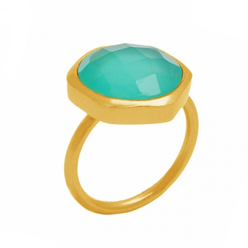 Hexagon Shape Aqua Chalcedony Gemstone 925 Sterling Silver Gold Plated Ring