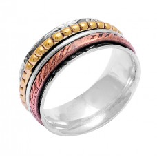 925 Sterling Silver Plain Handcrafted Designer Gold Plated Spinner Ring