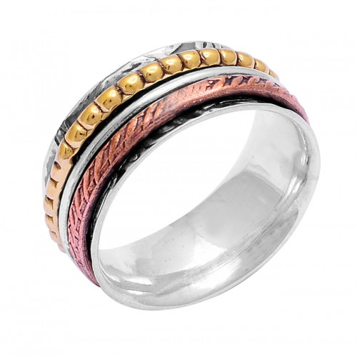 925 Sterling Silver Plain Handcrafted Designer Gold Plated Spinner Ring