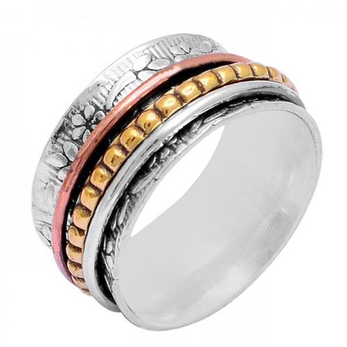 Fashionable Plain Designer 925 Sterling Silver Gold Plated Spinner Ring