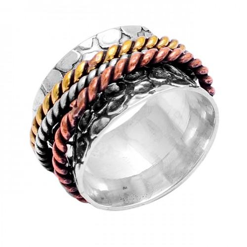 Unique Designer Plain Handmade Designer 925 Sterling Silver Spinner Ring