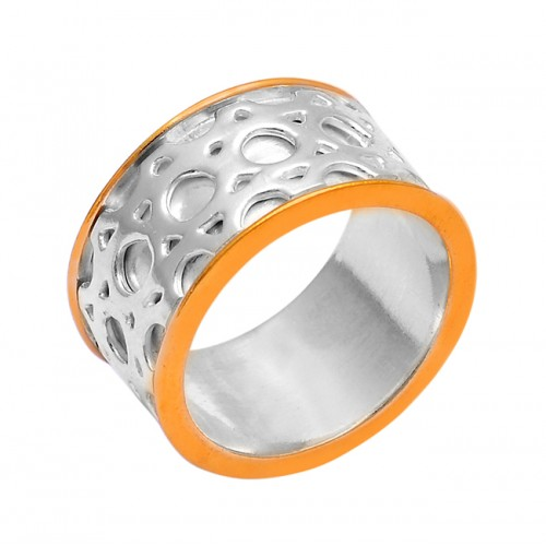 New Stylish Plain Handmade Designer 925 Sterling Silver Gold Plated Ring