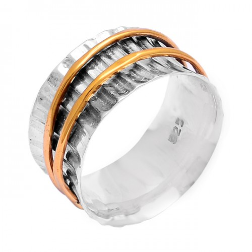 Unique Plain Handcrafted Designer 925 Sterling Silver Gold Plated Spinner Ring